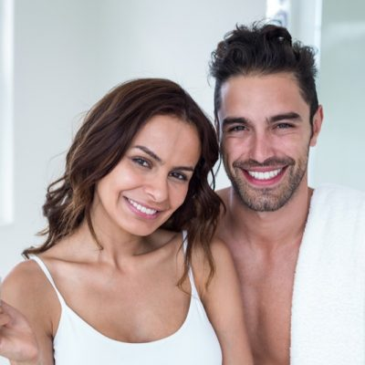 Smiling-Man-Woman-Bathroom-Skincare
